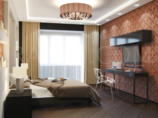 Стиль контемпорари, красивая спальня
