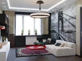 Гостинная комната в стиле контепорари с фотообоями и хендмейд мебелью