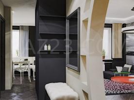 Вид на кухню и гостинную в квартире в стиле контемпорари